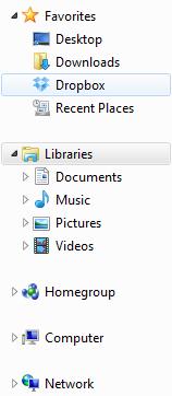Когато инсталирате Dropbox на Вашият компютър ще се създаде папка Dropbox.